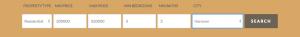 IDX Broker search bar with defaults set
