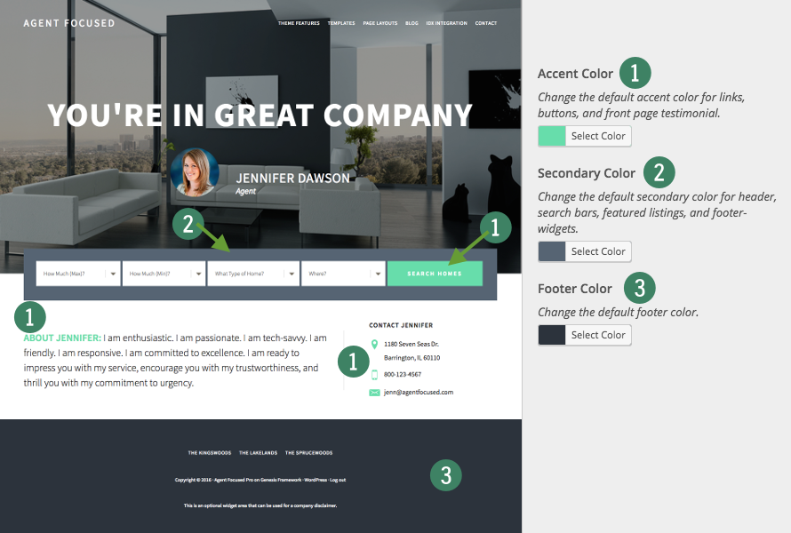 choose colors for agent focused site setup