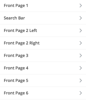front page widget areas