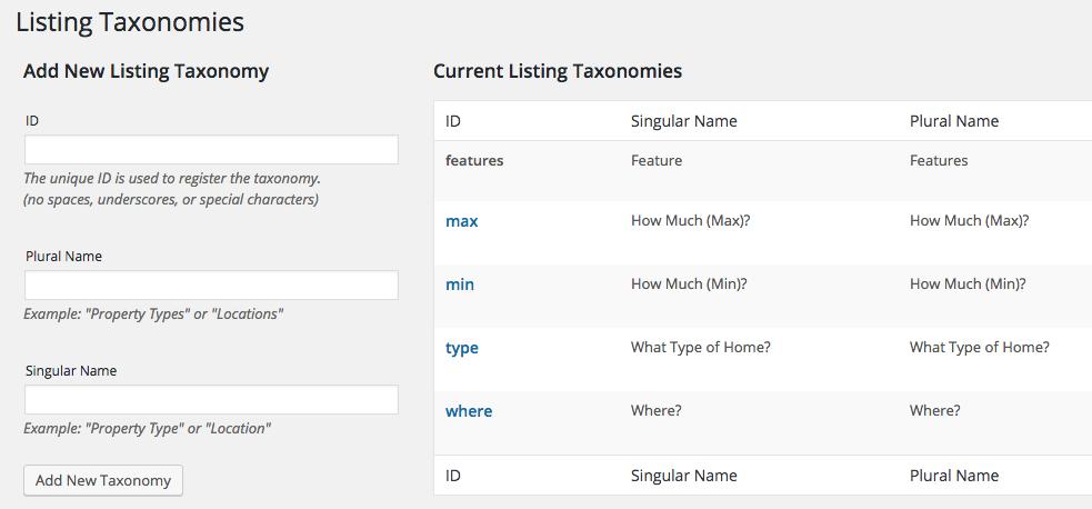 agentpress listing taxonomies