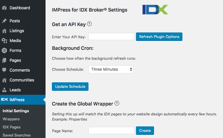 IMPress for IDX Broker Settings