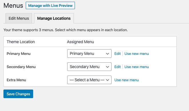 assign a menu to a location