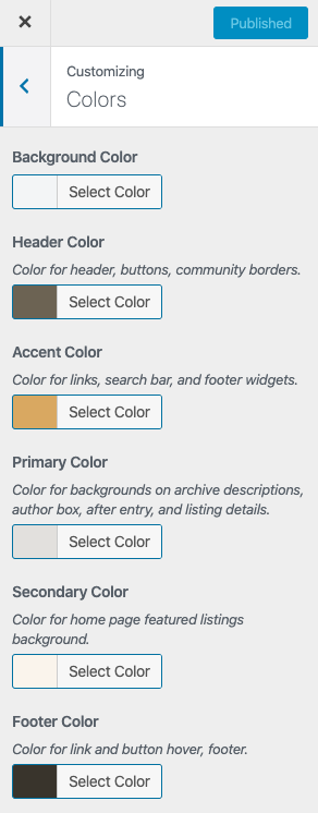 change theme colors in the color customizer