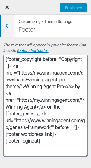 edit footer credits in winning agent