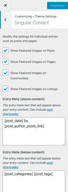 customize content on singular pages