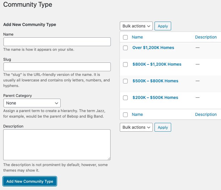 add community types taxonomy