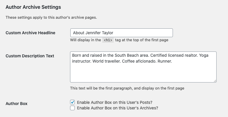 author archive settings