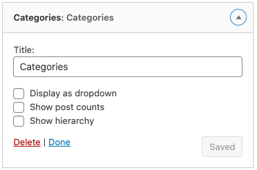 categories widget in primary sidebar