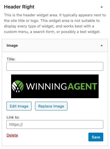 header right widget area with image widget