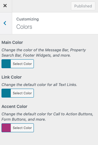 change theme colors in customizer for my community theme