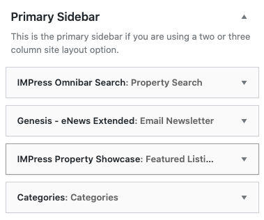 primary sidebar widget area