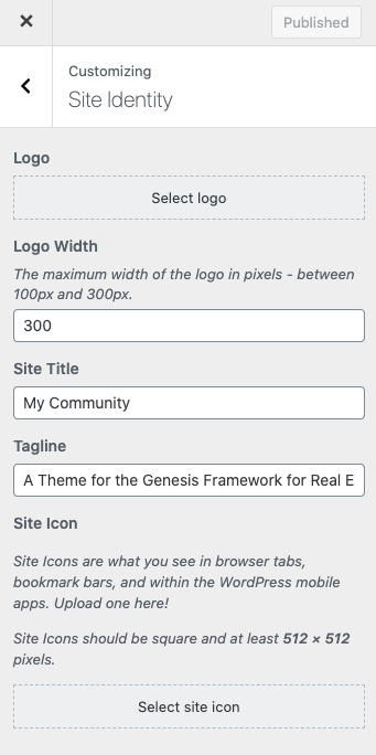 WordPress customizer for Site Identity - Logo and Site Icon