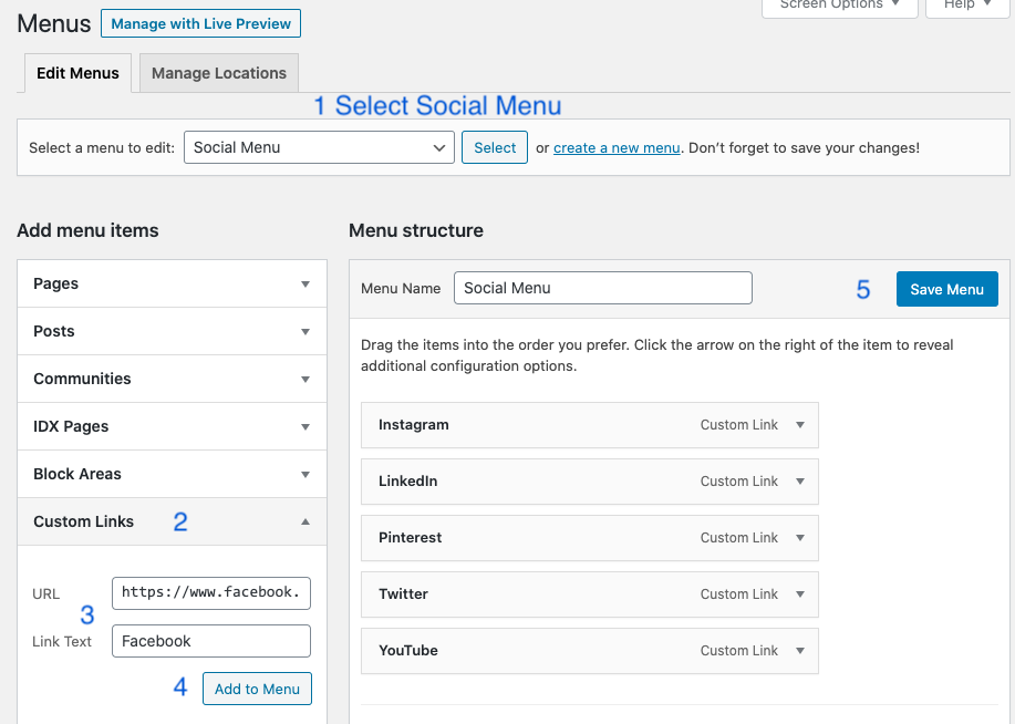 steps to add your social links to the social menu