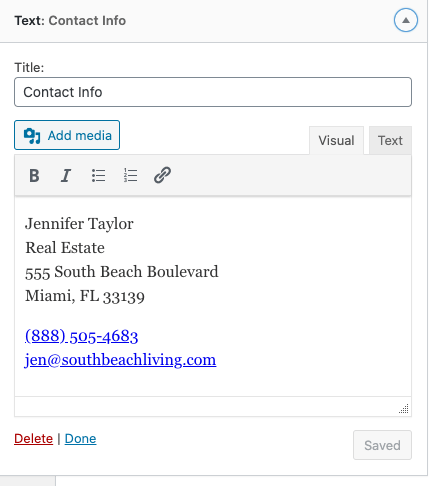 text widget with contact info added to footer 3 widget area