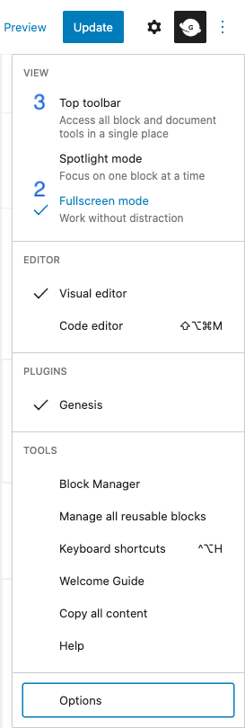 wordpress editor more tools & options