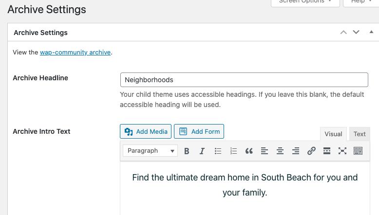 neighborhood archive settings
