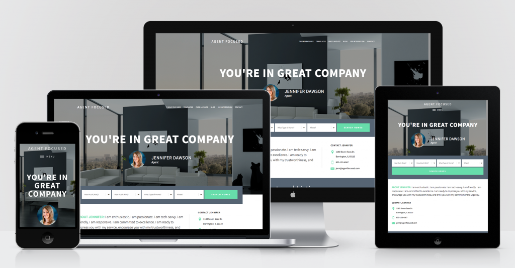 agent focused pro theme for genesis framework shows responsive device mockup